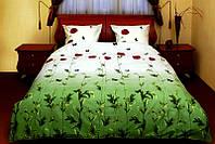 Двухспальное постельное белье ТЕП Маки зеленые