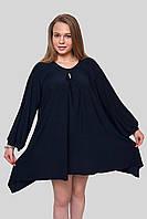 Женская нарядная туника темно- синяя 601, размер 54—56