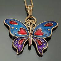 Милый кулон - бабочка + цепочка, покрытые золотом (319501)