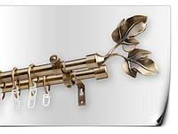 Карниз  двойной литой раздвижной лист розы двойной антик