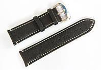 Ремінець шкіряний Bros Cvcrro a Mano для наручних годинників з класичною застібкою, чорний, 24 мм