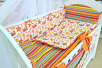 """Постель в детскую кроватку """"Водный мир"""" оранжевого цвета, фото 1"""
