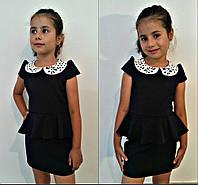 Платье детское, ткань мадона чёрная и синяя воротник эко кожа перфорация, супер качество  ММ №613