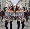 Полосатая блузка с рукавом-фонариком и открытыми плечами, фото 2