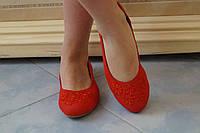 Красные стильные легкие льняные балетки с кружевом на носке. Арт-0506