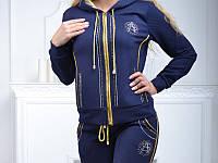 Стильный гламурный спортивный костюм женский Турция на молнии S M L XL синий