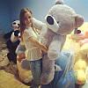 Гигантская мягкая игрушка Плюшевый медведь Бублик 180 см (серый)