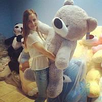 Гигантская мягкая игрушка Плюшевый медведь Бублик 180 см (серый), фото 1
