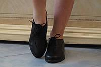 Стильные черные женские туфли из натуральной кожи на шнурках. АРТ-0511