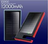 Солнечное зарядное устройство 12000mAh внешний аккумулятор ES900. Черный., фото 7