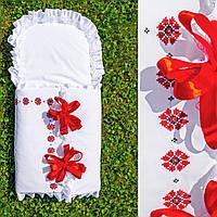 """Праздничный конверт с вышивкой на выписку с роддома """"Мережка червона"""", фото 1"""