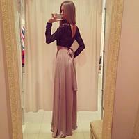 Красивое платье в пол гипюровый верх с открытой спиной
