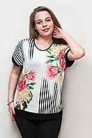 Женская футболка розы и пионы 1248
