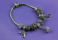 """Браслет Pandora (пандора) """"Подвеска дельфин"""" черные камни P084"""