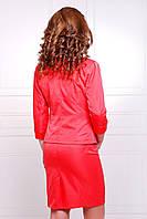 Пиджак женский Рандеву красный на одну пуговицу с вставками из экокожи и рукавом три четверти