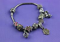 """Браслет Pandora (пандора) """"Колокольчики"""" разноцветные камни P081"""