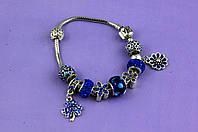 """Браслет Pandora (пандора) """"Цветы"""" синий P080"""