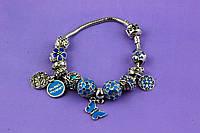"""Браслет Pandora (пандора) """"Подвеска бабочка"""" голубая эмаль P079"""