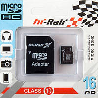 Карта памяти HI-Rali Micro SD 16Gb Class 10 + adapter