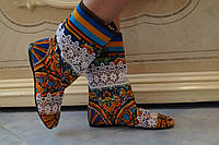 Цветные яркие летние женские сапожки с открытым носком и кружевными вставками. Арт-0139, фото 1