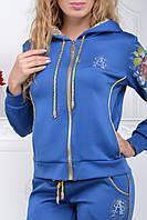 Стильный спортивный костюм женский Турция однотоный на змейке синий с 36 по 56 размеры