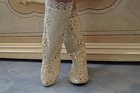 Женские весенние белые красивые сапоги . Арт-0525