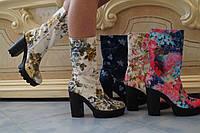 Женские ультра-модные тканевые ботильоны на тракторной подошве с каблуком, расцветки в ассортименте . Арт-0531, фото 1