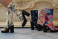 Женские супер-модные джинсовые ботильоны на тракторной подошве с каблуком . Арт-0531