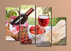 "Модульная картина на холсте ""Красное вино"""