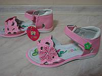 Стильные нежно-розовые босоножки для девочек р.26-31 повседневные с кожаной ортопедической стелькой