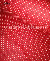 Ткань хлопковая мелкий белый горох на красном 4 мм