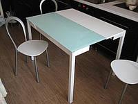 Раскладной стеклянный стол B2221, (белый, черный)