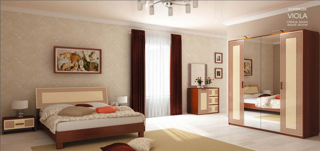 Спальня Віола глянець ваніль / вишня бюзум МіроМарк