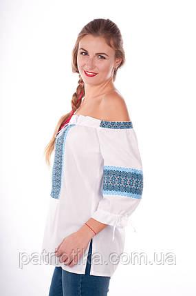 Женская вышиванка синий орнамент | Жіноча вишиванка синій орнамент, фото 2