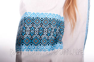Женская вышиванка синий орнамент | Жіноча вишиванка синій орнамент, фото 3