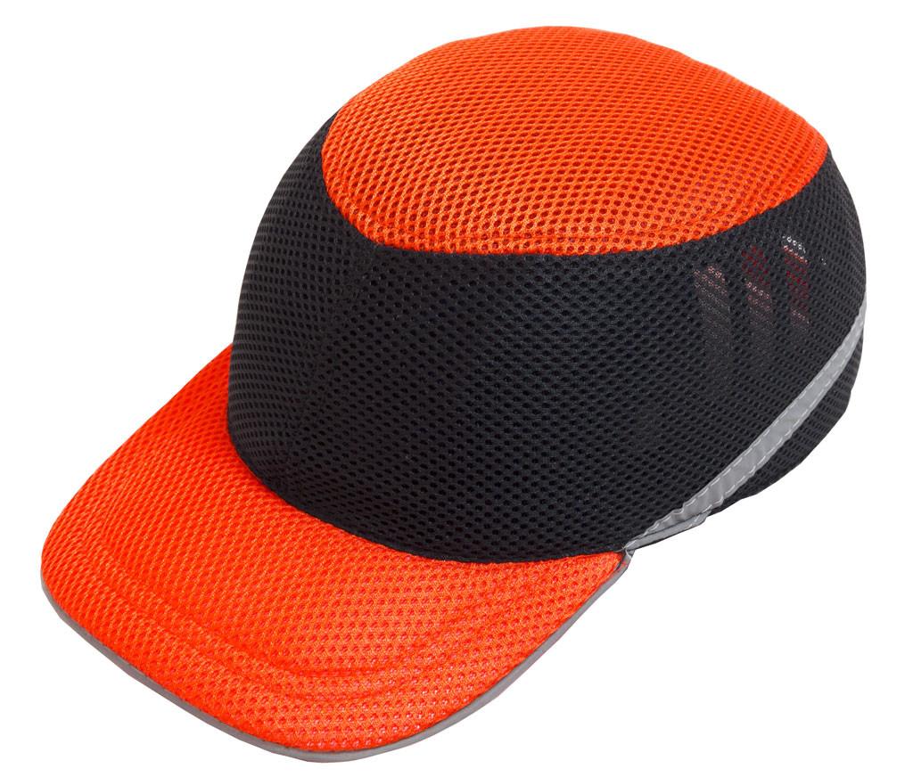 Каска-бейсболка ударостійка зі светоотражающей стрічкою (колір чорно-помаранчевий) каска будівельна
