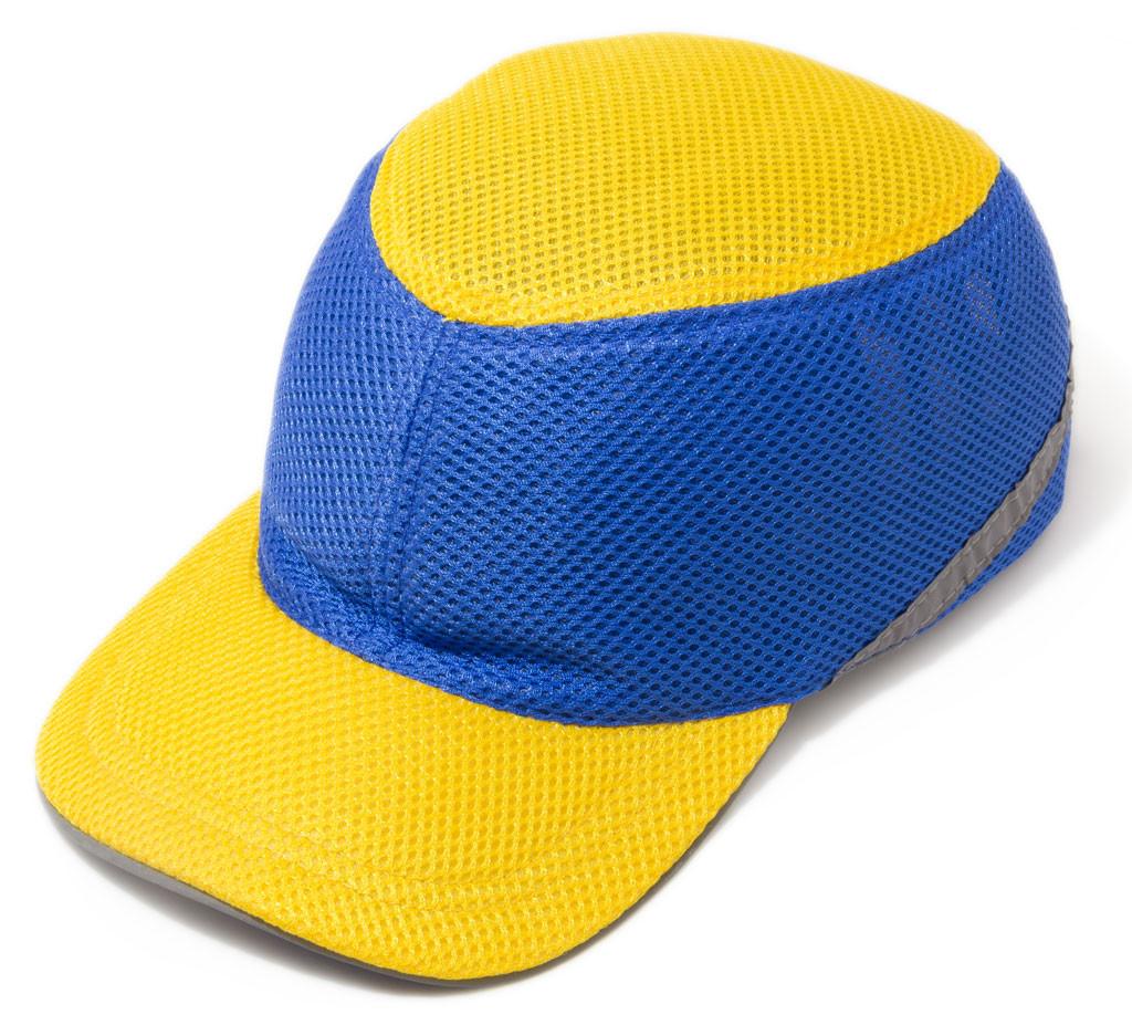 Каска ударопрочная со светоотражающей лентой жёлто-синяя