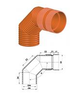 Колено 90 и 60 градусов для гофрированных труб InCor