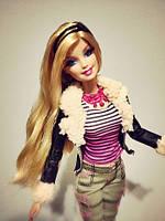 Барби шарнирная с накладными ресницами Barbie Style Doll - Bomber Jacket, фото 1