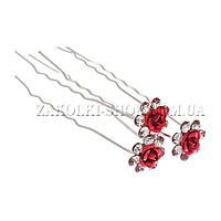 Шпильки оптом, хромированная шпилька с камушками чешское стекло в виде цветочка , 20 штук в упаковке.