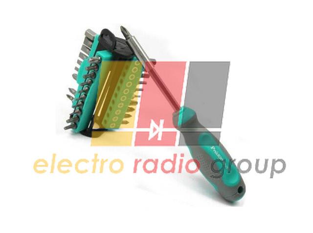 Викрутка з битами Pro'sKit SD-2313, Т05-Т35, S1, S2, PH0-PH3, PZ0-PZ3, H2 mm-H8 mm, SL 4.5 mm -SL8mm