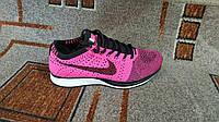 Беговые кроссовки Flyknit Racer розовые с черным