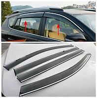Дефлекторы окон с хром вставкой (ветровики) на Тойоту RAV-4 с 2013> (скотч+крепёж) Китай.