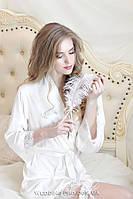 """Шёлковый халатик с кружевом и надписью  """"Bride"""" из страз Swarovski"""