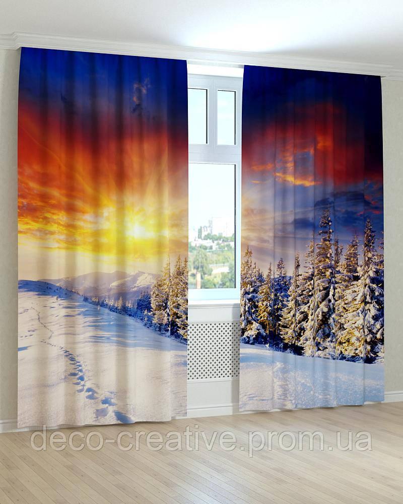 Фотошторы сосновый лес в снегу