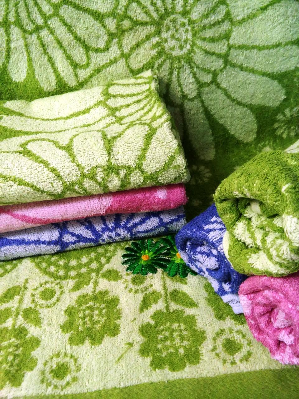 Махровое полотенце для лица Ромашка Жаккард (1.3)