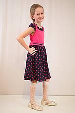 Детское красивое малиновое платье в горошек с болеро., фото 2