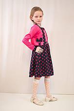 Детское красивое малиновое платье в горошек с болеро., фото 3