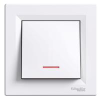 Выключатель одноклавишный с подстветкой, белый