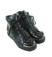Черные модные полуботинки на шнурках